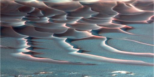 NASA's Mars Exploration Rover Opportunity shows dramatic rippling dune fields on crater floors in 'Endurance Crater' on Mars.