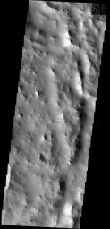 This dust avalanche is located on the rim material of an unnamed crater to  the east of Tikhonravov Crater