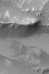 NASA's Mars Global Surveyor shows light-toned, ripple-like, windblown bedforms and ridges with dark talus accumulations on their slopes in the western portion of the vast Valles Marineris trough system on Mars.