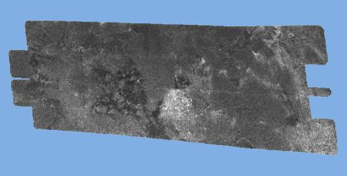 This radar image of the surface of Saturn's moon Titan was acquired on October 26, 2004, when NASA's Cassini spacecraft flew over. righter areas may correspond to rougher terrains and darker areas are thought to be smoother.