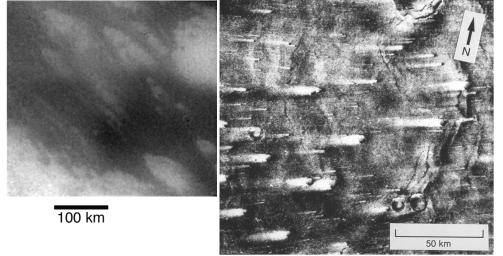 This image compares streaked terrain on Titan and Mars. At left is an image from NASA's Cassini spacecraft of the region where the Huygens probe is expected to land. At right is a picture from NASA's Viking 1 orbiter.