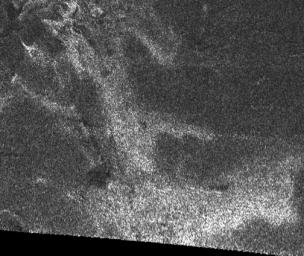 This synthetic aperture radar image of the surface of Saturn's moon Titan was acquired on Oct. 26, 2004, when NASA's Cassini spacecraft flew approximately 2,500 kilometers (1,553 miles) above the surface and acquired radar data for the first time.
