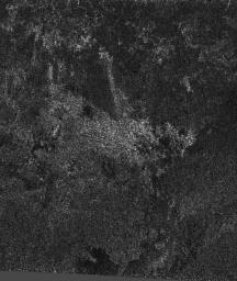 As Cassini scientists work to understand the newly-exposed surface of Saturn's largest moon, Titan, they have found an interesting arrowhead-shaped feature, shown in the center of this synthetic aperture radar image from NASA's Cassini spacecraft.