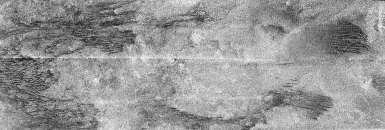 This image is a portion of the swath acquired by NASA's Cassini Titan radar mapper on Feb. 15, 2005, on the mission's second opportunity to image the surface with radar. The optically bright region is named Xanadu.