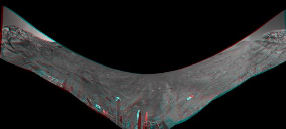 This anaglyph from the base of 'Burns Cliff' in the inner wall of 'Endurance Crater' combines several frames taken by Opportunity's navigation camera during the NASA rover's 280th martian day (Nov. 6, 2004). 3D glasses are necessary to view this image.