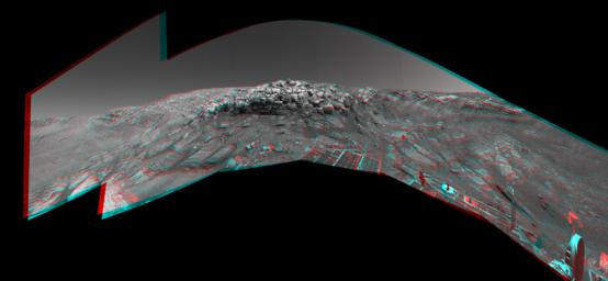 As NASA's Mars Exploration Rover Opportunity was making its way back toward its original entry path into 'Endurance Crater,' scientists and engineers spotted what they hoped might be a shortcut for climbing out of the crater. 3D glasses are necessary.