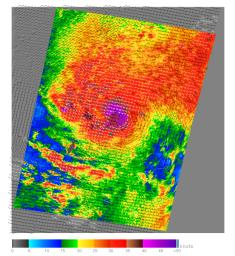 This image, produced from data collected by the SeaWinds scatterometer instrument onboard NASA's QuikScat mission reveals the details of the surface winds and rain in Typhoon Nanmadol as it moves westward.