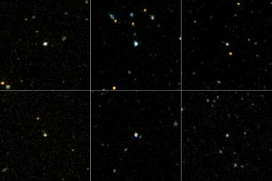 This image shows six of the three-dozen 'ultraviolet luminous galaxies' spotted in our corner of the universe by NASA's Galaxy Evolution Explorer. These massive galaxies greatly resemble newborn galaxies that were common in the early universe.