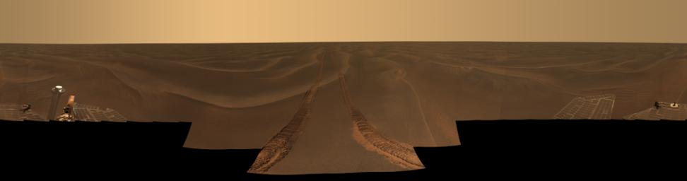 This panoramic image, dubbed 'Rub al Khali,' was acquired by NASA's Mars Exploration Rover Opportunity on the plains of Meridiani during the period from the May 6 to May 14, 2005. Opportunity was at a place known informally as 'Purgatory Dune.'