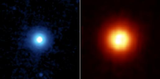 NASA's Spitzer Space Telescope recently captured these images of the star Vega, located 25 light years away in the constellation Lyra.
