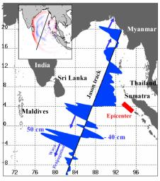 Displayed in blue color is the height of sea surface (shown in blue) measured by NASA's Jason satellite two hours after the initial magnitude 9 earthquake hit the region (shown in red) southwest of Sumatra on December 26, 2004.