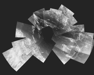 This picture is a composite of 30 images from ESA's Huygens probe. They were taken from an altitude varying from 13 kilometers down to 8 kilometers when the probe was descending towards its landing site.