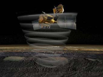 This artist's concept of NASA's Mars Reconnaissance Orbiter highlights the spacecraft's radar capability.