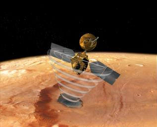This image is an artist's concept of a view looking down on NASA's Mars Reconnaissance Orbiter.