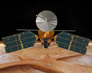 This artist's concept of NASA's Mars Reconnaissance Orbiter features the spacecraft's main bus facing down, toward the red planet.