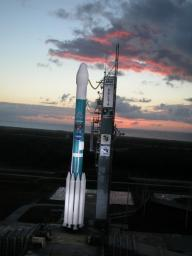 NASA's Deep Impact awaits launch from Cape Canaveral Air Force Station, Fla. on Jan. 12, 2005.