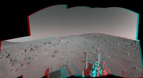 NASA's Mars Exploration Rover Spirit captured this view uphill toward 'Cumberland Ridge' on 'Husband Hill.' 3D glasses are necessary to view this image.