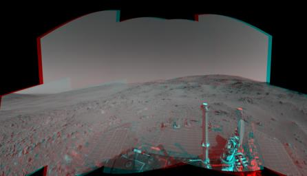 An attempted drive NASA's Mars Exploration Rover Spirit on Feb. 15, 2005 did not gain any ground toward nearby 'Larry's Lookout' because of slippage that churned the soil on the slope. 3D glasses are necessary to view this image.