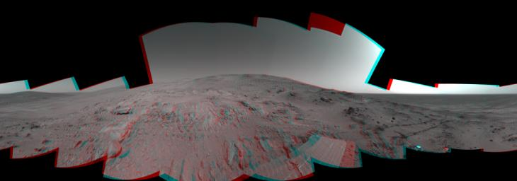 On Feb. 26, 2005, NASA's Mars Exploration Rover Spirit had drive 2 meters (7 feet) on this sol to get in position on 'Cumberland Ridge' for looking into 'Tennessee Valley' to the east. 3D glasses are necessary to view this image.