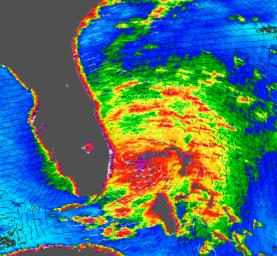 Tropical Storm Katrina is shown here as observed by NASA's QuikScatsatellite on August 25, 2005, at 08:37 UTC (4:37 a.m. in Florida). At that time, the storm had 80 kilometers per hour (50 miles per hour; 43 knots) sustained winds.