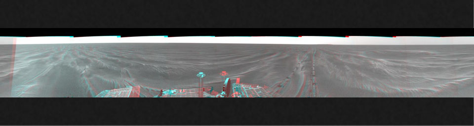 NASA's Mars Exploration Rover Opportunity arrived at this location close to a small crater dubbed 'Alvin' on Feb. 18 & 19, 2005. 3D glasses are necessary to view this image.