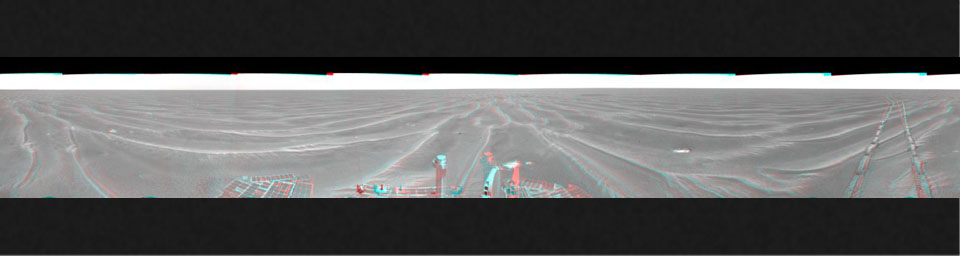 On Feb. 19, 2005, NASA's Mars Exploration Rover Opportunity had completed a drive of 124 meters (407 feet) across the rippled flatland of the Meridiani Planum region. 3D glasses are necessary to view this image.