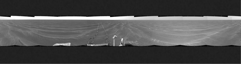 NASA's Mars Exploration Rover Opportunity took this cylindrical projection 360-degree view of the rover's surroundings on March 6, 2005. Opportunity had completed a drive across the rippled flatland of the Meridiani Planum region.