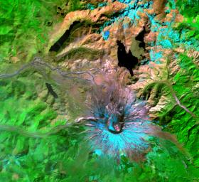 This NASA's Terra satellite image of Mount St. Helens was captured one week after the March 8, 2005 ash and steam eruption, the latest activity since the volcano's reawakening in September 2004.