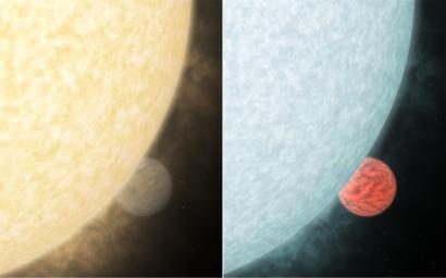 This artist's concept shows what a fiery hot star and its close-knit planetary companion might look close up if viewed in visible and infrared light .
