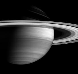 NASA's Cassini spacecraft's keen vision, with its variety of spectral filters, allows for revealing views of the eastward- and westward-flowing cloud bands that encircle the ringed giant, Saturn.