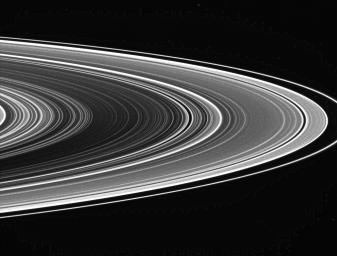The extreme contrast in this view of the unlit side of Saturn's rings captured by NASA's Cassini spacecraft is intentional. Contrast-enhanced views like this are used to look for spokes, but so far, none have been seen by Cassini.