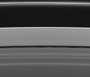This view of Saturn's rings captured by NASA's Cassini spacecraft reveals not one but two of the four narrow ringlets in the Encke Gap (325 kilometers, or 200 miles, wide). The innermost of the two ringlets is much brighter and full of clumps.