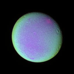 Detail on Dione (False color)