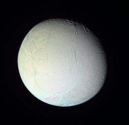 This image from NASA's Cassini spacecraft of Saturn's moon Enceladus, shows the bluish appearance of the southern 'tiger stripe' features and other relatively youthful fractures attributable to larger grain sizes of relatively pure ice.