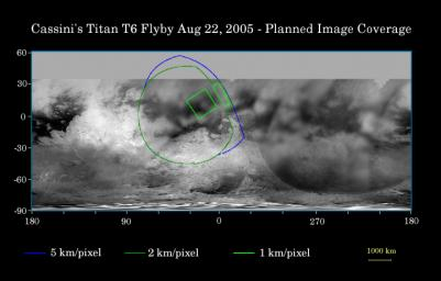 This map of Titan's surface illustrates the regions that were imaged by NASA's Cassini during the spacecraft's close flyby of Saturn's moon, Titan, on Aug. 22, 2005.