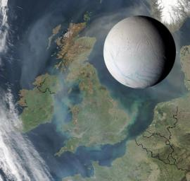 Saturn's moon Enceladus is only 505 kilometers (314 miles) across, small enough to fit within the length of the United Kingdom, as illustrated in this image from NASA's Cassini spacecraft.