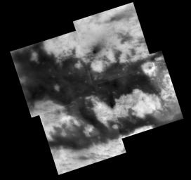 During its Sept. 7, 2005, flyby of Titan, NASA's Cassini spacecraft acquired images of territory on the moon's Saturn-facing hemisphere that were assembled to create this mosaic.