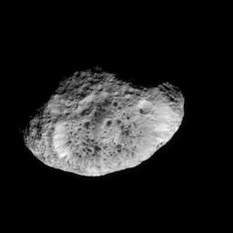 This frame from a movie sequence shows highlights of NASA's Cassini spacecraft's Sept. 26, 2005, flyby of the odd, icy moon Hyperion. The sequence begins with Cassini at a distance of 244,000 kilometers (152,000 miles) from Hyperion.