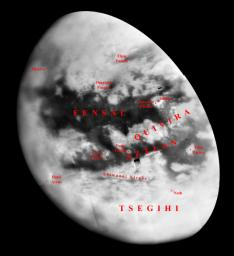 Like an ancient mariner charting the coastline of an unexplored wilderness, NASA's Cassini spacecraft's repeated encounters with Titan are turning a mysterious world into a more familiar place. These combined images were taken on Sept. 7, 2005.