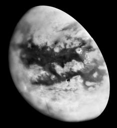 NASA's Cassini spacecraft repeated encounters with Titan are turning a mysterious world into a more familiar place. This image shows more than half of Titan's Saturn-facing hemisphere at moderate resolution.