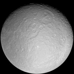 This giant mosaic reveals Saturn's icy moon Rhea in her full, crater-scarred glory. The images in this mosaic were taken with NASA's Cassini spacecraft's narrow-angle camera during a close flyby on Nov. 26, 2005.