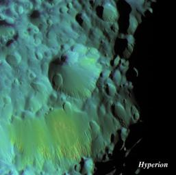 This false-color view, acquired by NASA's Cassini spacecraft on Sept. 26, 2005, shows Saturn's moon Hyperion's crater, Meri. Meri is overprinted by a couple of smaller craters.