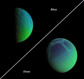 Saturn's cratered, icy moons, Rhea and Dione, come alive with vibrant color that reveals new information about their surface properties. Images in the Dione false-color view were acquired on Aug. 1, 2005 by NASA's Cassini spacecraft.