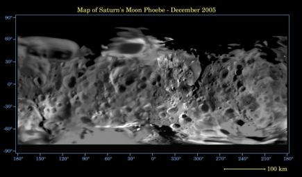 This global digital map of Saturn's moon Phoebe was created using data taken during NASA's Cassini spacecraft's close flyby of the small moon in June 2004. The map is an equidistant projection and has a scale of 233  meters (764 feet) per pixel