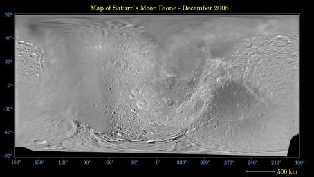 This global digital map of Saturn's moon Dione was created using data taken during NASA's Cassini and Voyager spacecraft flybys.