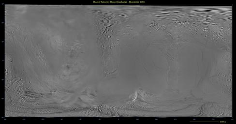 This global digital map of Saturn's moon Enceladus was created using data  taken during Cassini and Voyager spacecraft flybys. The map is an  equidistant projection and has a scale of 110 meters (361 feet) per pixel