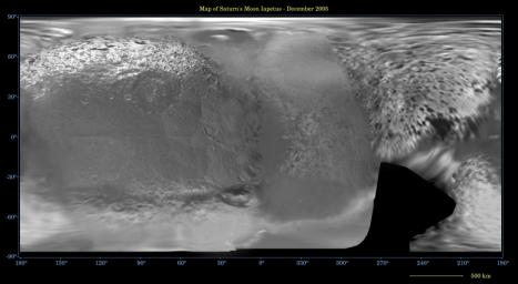 This global digital map of Saturn's moon Iapetus was created using data  taken during Cassini and Voyager spacecraft flybys. The map is an  equidistant projection and has a scale of 641 meters (2,103 feet) per  pixel