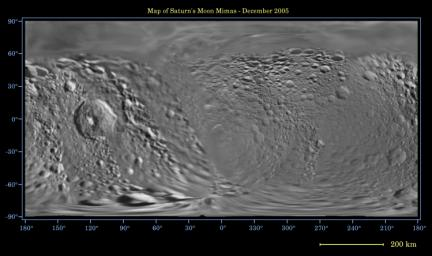 This global digital map of Saturn's moon Mimas was created using data  taken during Cassini and Voyager spacecraft flybys. The map is an  equidistant projection and has a scale of 434 meters (1,424 feet) per  pixel
