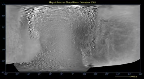 This global digital map of Saturn's moon Rhea was created using data  taken during Cassini and Voyager spacecraft flybys. The map is an  equidistant projection and has a scale of 667 meters (2,188 feet) per  pixel