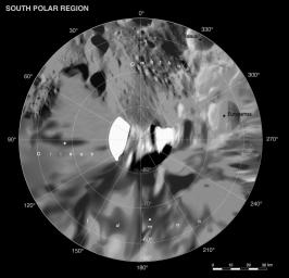This map is part of a group release of Mercator and polar stereographic projections of Saturn's moon Phoebe. This global digital map of Phoebe was created using data taken during NASA's Cassini spacecraft's close flyby of the small moon.